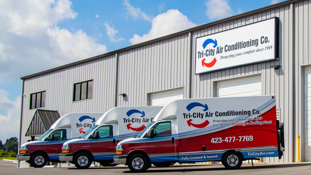 Tri-City Air Conditioning Co. Heat and Air Work Vans Kingsport Johnson City Bristol TN